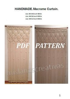 PDF Instructions  Macrame Curtain. HANDMADE.Macrame wall hanging. (cotton 8mm) PDF pattern with instant download . by mislanascreativas on Etsy https://www.etsy.com/nz/listing/261533097/pdf-instructions-macrame-curtain