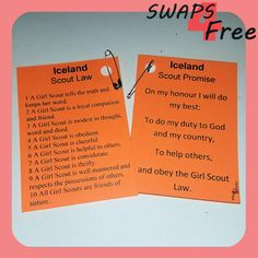 Iceland Guide Promise and Law Country Girl Scout SWAPS for World Thinking Day - Free Printable Girl Scout Law, Daisy Girl Scouts, Girl Scout Juniors, World Thinking Day, Girl Guides, Scouting, Country Girls, Romania, Iceland