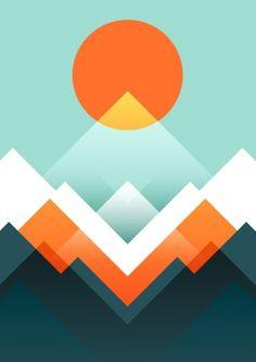 Everest Mini Art Print by Picomodi - Without Stand - x Barn Quilts, Grafik Design, Geometric Shapes, Framed Art Prints, Adobe Illustrator, Abstract Art, Illustration Art, Retro, Drawings