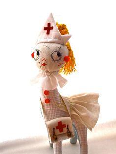 Ooak art doll soft sculpture cloth Nurse by JessQuinnSmallArt