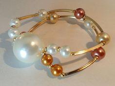 Mod:P83 pulsera de perlas de cristal en chapa de oro $100.00 mayoreo 25% de descuento $75.00