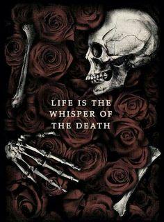 Life Is The Whisper Of The Death by Javier Del Pozo, via Behance. Gothic Wallpaper, Skull Wallpaper, Dark Wallpaper, Wallpaper Ideas, Totenkopf Tattoos, Dark Love, Skeleton Art, Skeleton Drawings, Dark Quotes