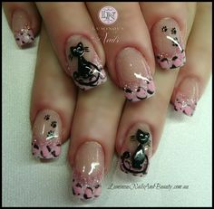 Kitty Kat & Pink Leopard Print! - Nail Art Gallery by NAILS Magazine