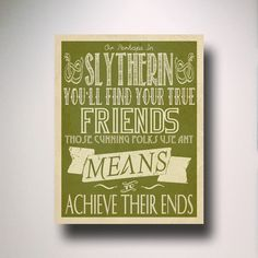Slytherin House Poster / Harry Potter Typography / Hogwarts Houses... ($15) ❤ liked on Polyvore featuring harry potter, hogwarts, pictures e words