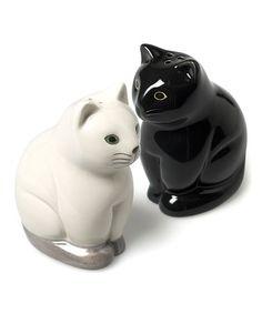 Look at this #zulilyfind! Black & White Sitting Cats Salt & Pepper Shaker - Set of Two #zulilyfinds