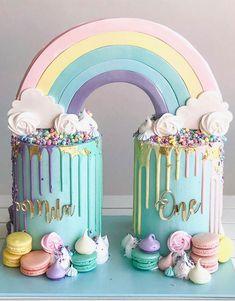 Rainbow First Birthday, Baby First Birthday, First Birthday Parties, First Birthdays, Summer Birthday, Twin Birthday Cakes, Candy Birthday Cakes, Birthday Cake Design, Lol Birthday Cake