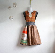 Plus Size Dress 1X Brown Upcycled Bohemian Women's Clothes Boho Patchwork Rust Eco Friendly Clothing 'GIATTA'
