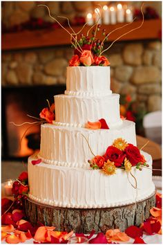 On a wood round! Such a great idea! Love the beautiful cake too!