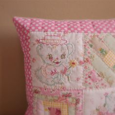 embroidered patchwork pink pillow