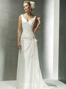 A-Line Sheath / Column Off the Shoulder V-Neck Dropped Asymmetrical Waist Non-Strapless Tank Satin Elastic Silk-like Satin Wedding Dress