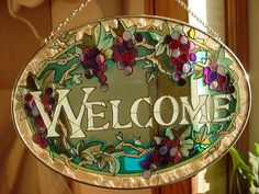 Stained Glass WELCOME Suncatcher Joan Baker Oval 6 by 9 inch Grapes #JoanBakerDesigns Seller florasgarden on ebay
