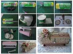 Turning Pringles can (or oatmeal container?) into beautiful storage gift Craft Tutorials, Diy Projects, Diy Paper, Paper Crafts, Diy And Crafts, Crafts For Kids, Matchbox Crafts, Pringles Can, Recycling