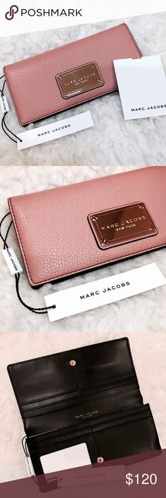 """Marc Jacobs Rosy Pink Open Leather Wallet BRAND 🆕 WITH TAGS!!! MARC JACOBS Classic Open Face Leather Wallet in (Rose Pink/Blush).  • PERFECT COLOR FOR SPRING🌸 !!! Cannot get over the quality of this wallet and it's leather... so beautiful!  - Bi-fold - Snap closure - Interior features 1 ID window, 2 bill slots, and 7 card slots - Approx. 3.5"""" H x 7.5"""" W x 1"""" D - Leather exterior, textile lining   🌟Retails $148🌟 Marc Jacobs Bags Wallets"""