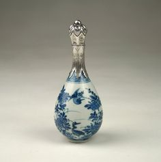 RARE Antique 18thC Chinese Qing Kangxi Blue White Porcelain Silver Top Vase