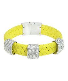 Look at this #zulilyfind! Crystal & Yellow Braided Leather Bracelet #zulilyfinds