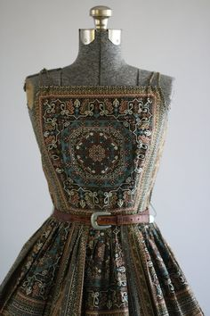 Vintage 1950s Dress / 50s Cotton Dress / Saks Fifth Ave Brown Brocade Print Dress w/ Belt S