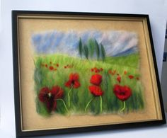 Fibre Art, Landscape with Poppies, Wool Painting, RUSTIC WEDDING GIFT