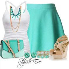 Summer outfit - white tank top, mint midi skirt and satchel, beige wedge shoes with matching accessories.