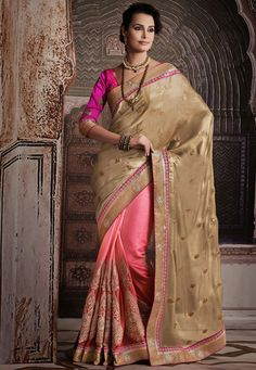 Beige and Pink Art Shimmer Satin and Art Silk Saree with Blouse Online Shopping: SKK18784