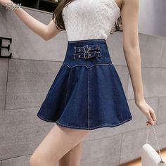 Summer A-Line Lovely Mini Skirt Lining Summer High Waist Slim Pleated Preppy Jeans Ball Gown Skirt Casual Bags, Casual Shoes, Casual Dresses, Slim Waist, High Waist, Gown Skirt, Overall Shorts, Preppy, Ball Gowns