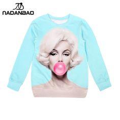 NADANBAO New Women Hoodies Top 3D Print Pullovers Casual Sweatshirts star Marilyn Monroe Molten