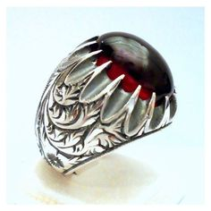 925 Sterling Silver Men's Ring with Red Amber Precious Silver... ❤ liked on Polyvore featuring men's fashion, men's jewelry and men's rings