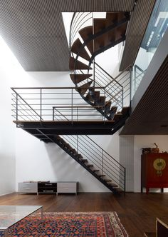 staircase optical illusion. love the recessed radiator | House S by Keiji Ashizawa