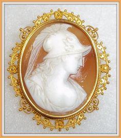 Shell Cameo Brooch 14K Frame - Athena (Minerva) - Antique & Collectible Exchange jarrettsjade.com