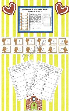 Gingerbread Write the Room Number Words Math Center >> Part of the Gingerbread Math Centers Bundle