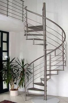 spiral stairs with stainless steel railings
