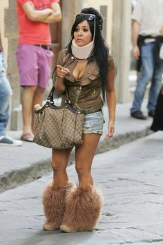 Take Snooki for example. Excessive cleavage and belly showin' is frowned upon. Along with booty shorts, especially when paired with boots with fur.