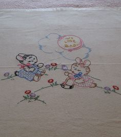 vintage baby blankets 1950's   Sweet Vintage Hand Embroidered Baby Blanket Circa 1950's