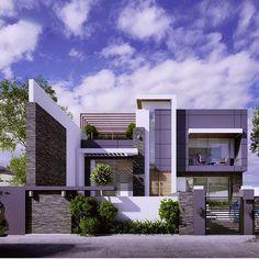 House 001 in Sulaimaniyah on Behance Design Exterior, Facade Design, Modern Exterior, Architecture Design, Residential Architecture, Contemporary Architecture, Villa Design, House Front Design, Modern House Design