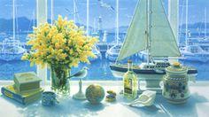 ミモザ ~Mimoza~ Z Arts, Japanese Artists, Sailing Ships, Images, Museum, Wallpaper, Painting, Travel Bags, Illustrations