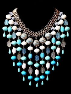 Ornate blue acrylic bead necklace