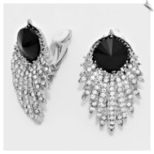 Modern Clear & Black Rhinestone Clip On Earrings Accented with Silvertones 2 in Price$24.00 @ www.whimzgirlclipearrings.com