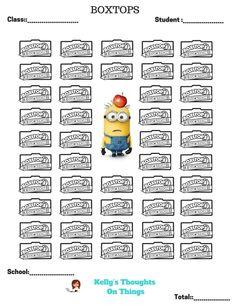 Minion Box Top Collection Sheet