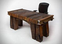 Railroad tie desk from Arte em Madeira