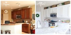 On the Cheap: Before and after of an outdated oak kitchen update.  Cabinets were painted Sherwin Williams Alabaster and the counters are laminate with an ogee edge to look like Carrara marble.  Sink is a black quartz to go with SS appliances that have black on them.
