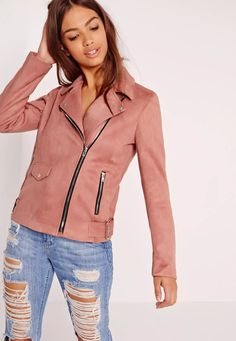 Fall in love with faux suede and add this luxe texture into your outerwear closet! We're lusting over its dusky pink hue, faux suede fabric, zip and pocket deets and biker buckle features on the hem. You'll be dreamy yet fierce whilst looki...