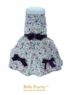 Purple 100% Floral Summer Dress for Dogs by Bella by BellaPoochy