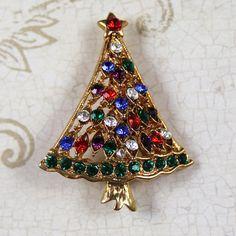 Multi Colored Rhinestone Gold Christmas Tree Brooch