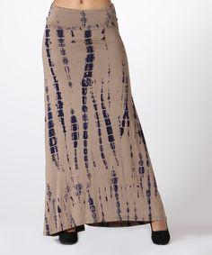 Mocha & Navy Tie-Dye Maxi Skirt
