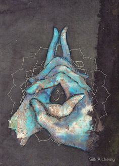 Crown Chakra Mudra by Tilly Campbell-Allen Yoga art, art for meditation, chakras, mindfulness Art Chakra, Chakra Healing, Blue Chakra, Chakra Painting, Chakra Symbols, Kundalini Yoga, Yoga Meditation, Pranayama, Yoga Kunst