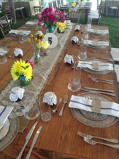 Burlap and lace running in the center of a natural farmers table. love it! @Christina Childress & Esquite Events