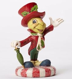 Jim Shore Disney Jolly Jiminy Cricket Christmas Figurine 4051974 New Pinocchio