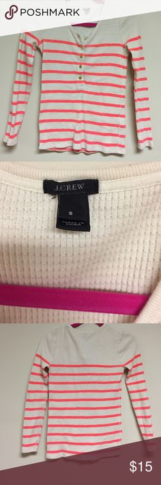 J Crew thermal top size S Great J Crew thermal top. White with orange/coral bright neon stripes, gold buttons, perfect for layering!   Under arm to under arm 16 inches.   Shoulder to hem 23 inches   100% cotton.  Extra button J. Crew Tops