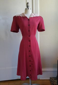 Rasberry Rayon Crepe 1940s Dress with White Lace Collar