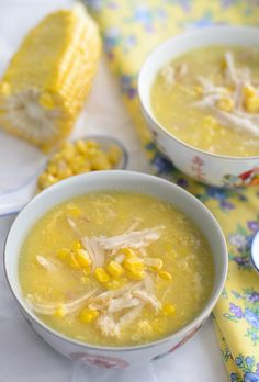 Chicken and Sweet Corn Soup by mykeuken. Use our corn cutters at Kitchen Dressings to make your soup an easy, delicious meal! Amish Recipes, Soup Recipes, Chicken Recipes, Cooking Recipes, Recipies, Recipe Chicken, Cookbook Recipes, Recipes Dinner, Drink Recipes