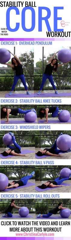 Core Stability Ball Workout - ab exercise ball exercises - Christina Carlyle